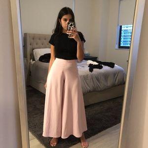 Zara Wide Leg Flare Pink Trousers XS
